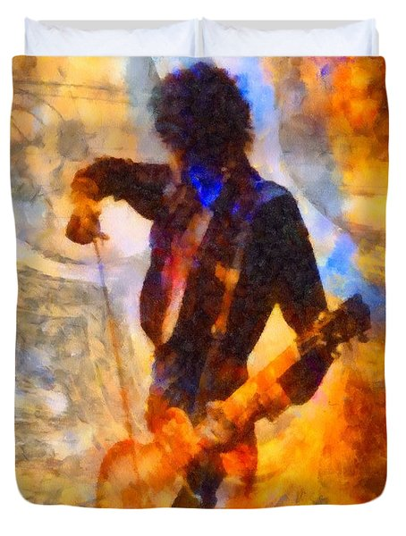 Jimmy Page Playing Guitar With Bow Duvet Cover by Dan Sproul