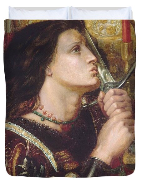 Joan Of Arc Kisses The Sword Of Liberation Duvet Cover by Philip Ralley