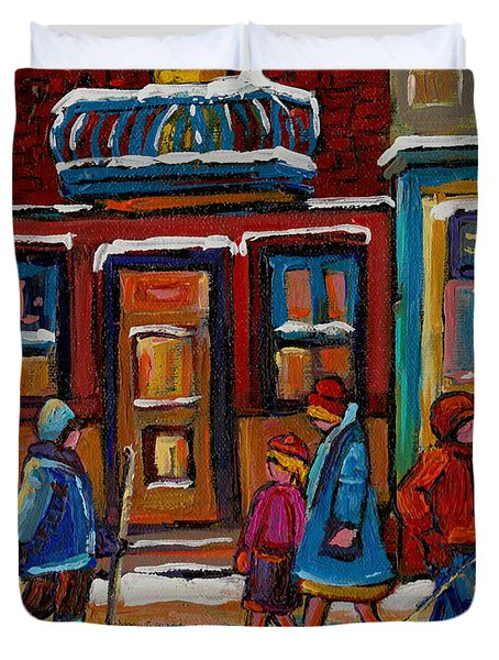 Joe Beef Restaurant And Boys With Hockey Sticks Duvet Cover by Carole Spandau