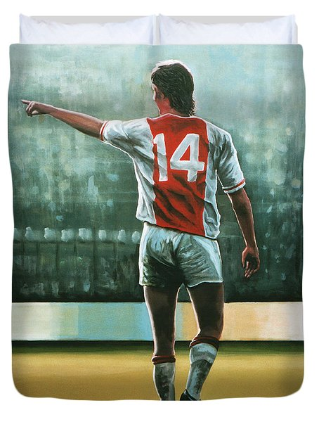 Johan Cruijff Nr 14 Painting Duvet Cover by Paul Meijering