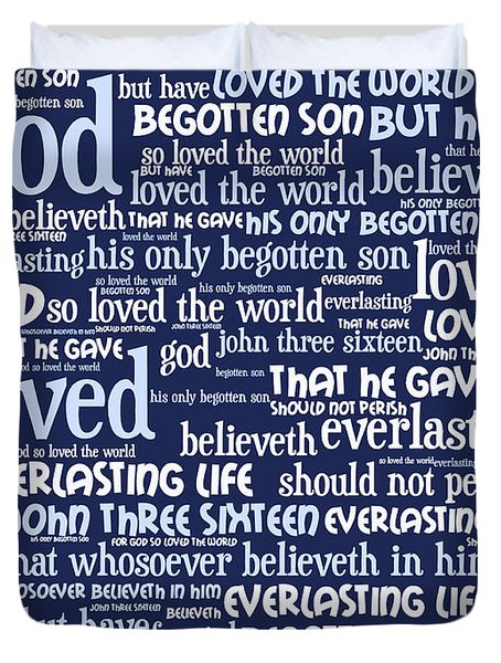 John 3-16 For God So Loved The World 20130622bwco80 Vertical Duvet Cover by Wingsdomain Art and Photography
