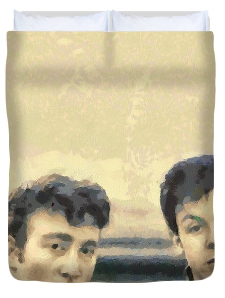 John And Paul When It All Started Duvet Cover by Paulette B Wright