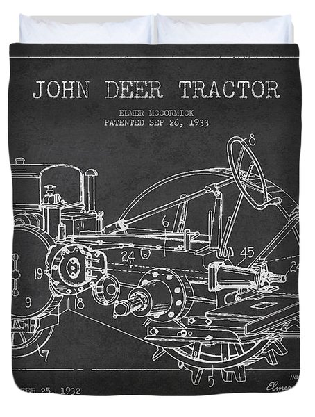 John Deer Tractor Patent drawing from 1933 Duvet Cover by Aged Pixel