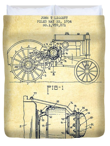 John Deer Tractor Patent drawing from 1934 - Vintage Duvet Cover by Aged Pixel