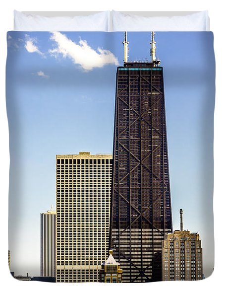John Hancock Center Building In Chicago Duvet Cover by Paul Velgos