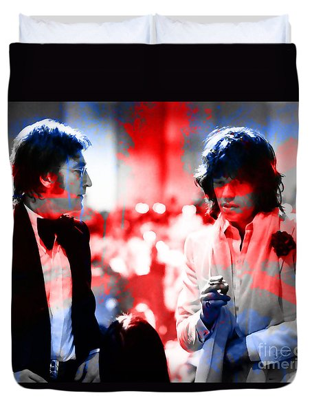 John Lennon And Mick Jagger Painting Duvet Cover by Marvin Blaine