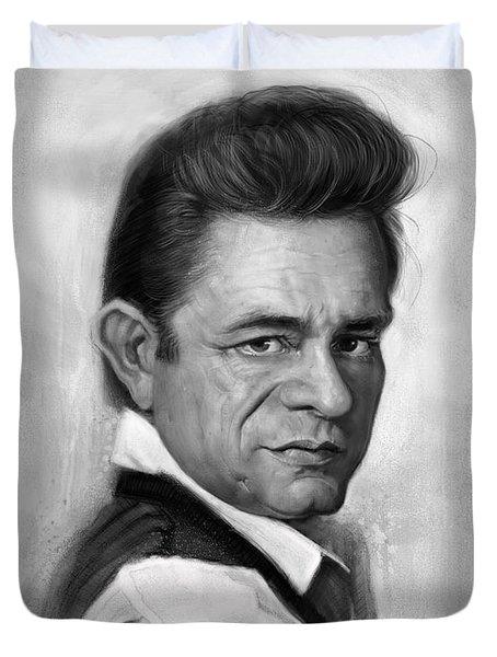 Johnny Cash Duvet Cover by Andre Koekemoer