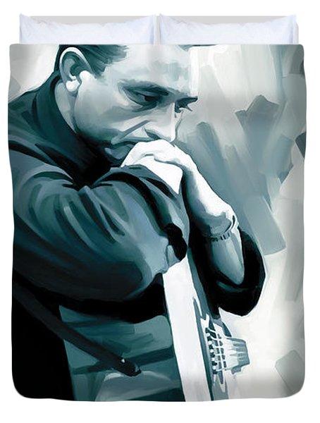 Johnny Cash Artwork 3 Duvet Cover by Sheraz A