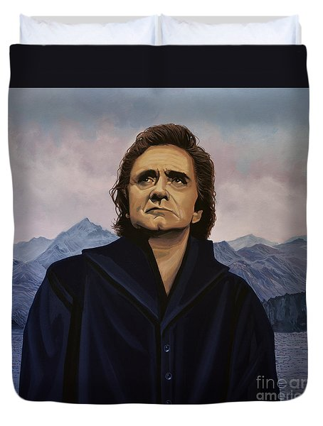 Johnny Cash Painting Duvet Cover by Paul Meijering