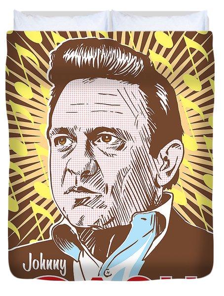 Johnny Cash Pop Art Duvet Cover by Jim Zahniser