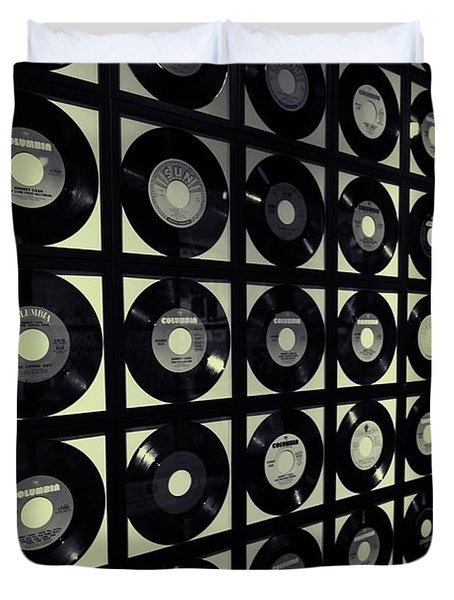 Johnny Cash Vinyl Records Duvet Cover by Dan Sproul