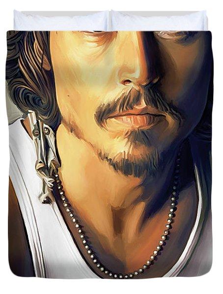 Johnny Depp Artwork Duvet Cover by Sheraz A