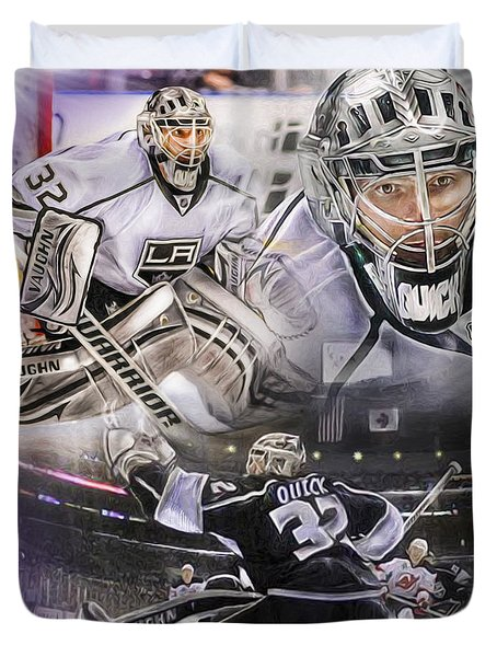 Jonathan Quick Collage Duvet Cover by Mike Oulton