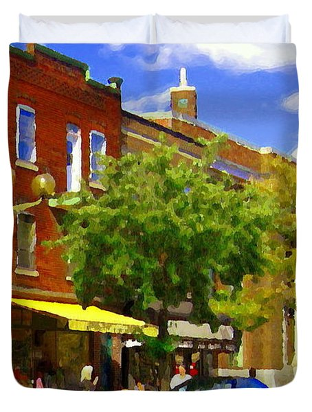 Jos Pappos Furs Street Scene Suburban Shops And Store Fronts Sherbrooke Montreal Carole Spandau Art  Duvet Cover by Carole Spandau