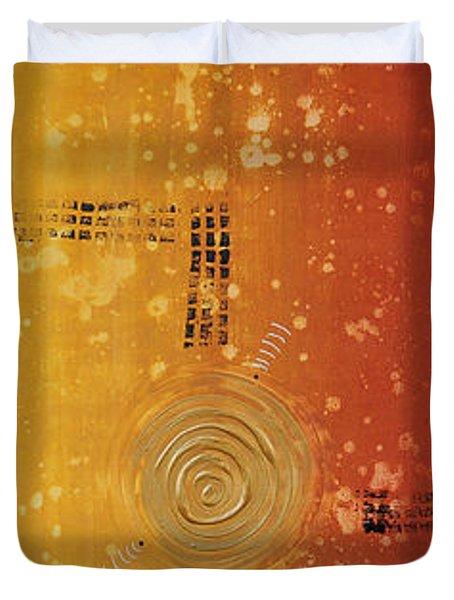 Journey To Zen - Earth Tone Yellow Burnt Orange Art Painting Duvet Cover by Sharon Cummings