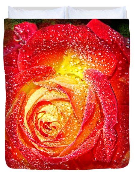 Joyful Rose Duvet Cover by Mariola Bitner