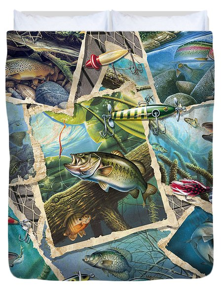 JQ's Fishing Collage Duvet Cover by Jon Q Wright