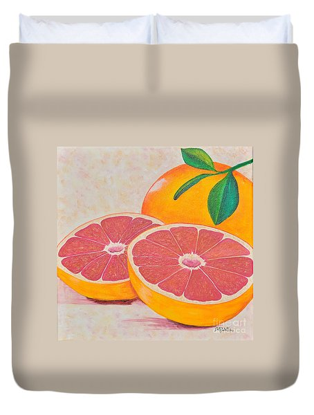 Juicy Pink Grapefruit Duvet Cover by Sally Rice