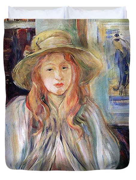Julie Manet With A Straw Hat Duvet Cover by Berthe Morisot