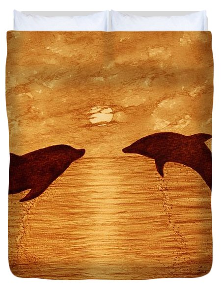 Jumping Dolphins At Sunset Duvet Cover by Georgeta  Blanaru