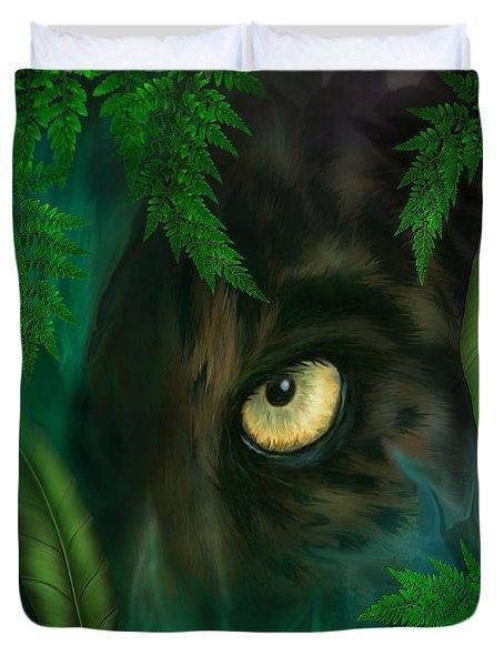 Jungle Eyes - Panther Duvet Cover by Carol Cavalaris