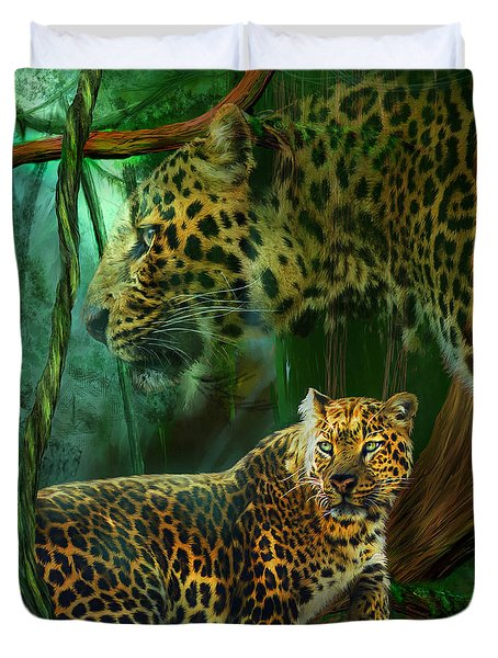 Jungle Spirit - Leopard Duvet Cover by Carol Cavalaris