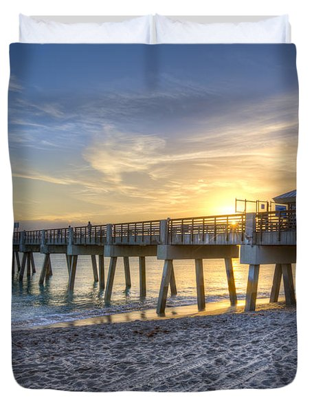Juno Beach Pier At Dawn Duvet Cover by Debra and Dave Vanderlaan
