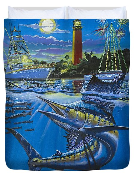 Jupiter Boat Parade Duvet Cover by Carey Chen