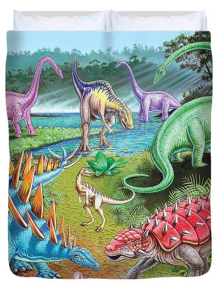 Jurassic Swamp Variant 1 Duvet Cover by Mark Gregory