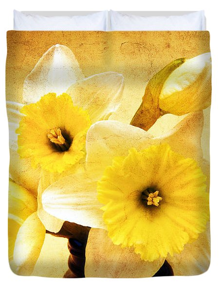 Just Plain Daffy 1 - Flora - Spring - Daffodil - Narcissus - Jonquil Duvet Cover by Andee Design