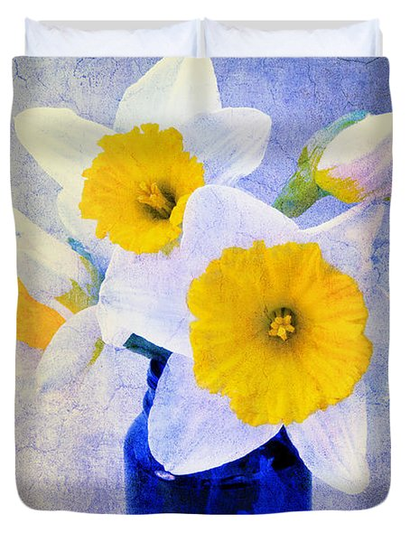 Just Plain Daffy 2 In Blue - Flora - Spring - Daffodil - Narcissus - Jonquil  Duvet Cover by Andee Design