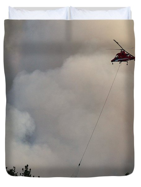 Duvet Cover featuring the photograph K-max Helicopter On Myrtle Fire by Bill Gabbert