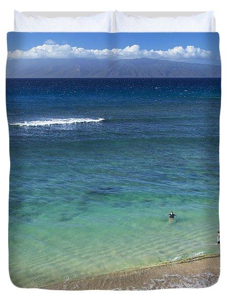 Kaanapali Ocean Aerial Duvet Cover by Jenna Szerlag