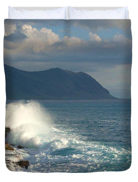 Kaena Point State Park Crashing Wave - Oahu Hawaii Duvet Cover by Brian Harig