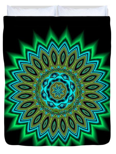 Kaleidoscope 1 Blues And Greens Duvet Cover by Faye Giblin