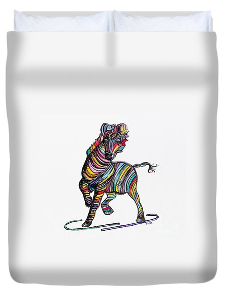 Kaleidoscope Zebra -- Baby Strut Your Stuff  Duvet Cover by Eloise Schneider