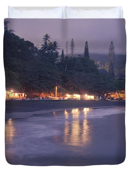 Kapueokahi - Hana Bay - Sunset Hana Maui Hawaii Duvet Cover by Sharon Mau