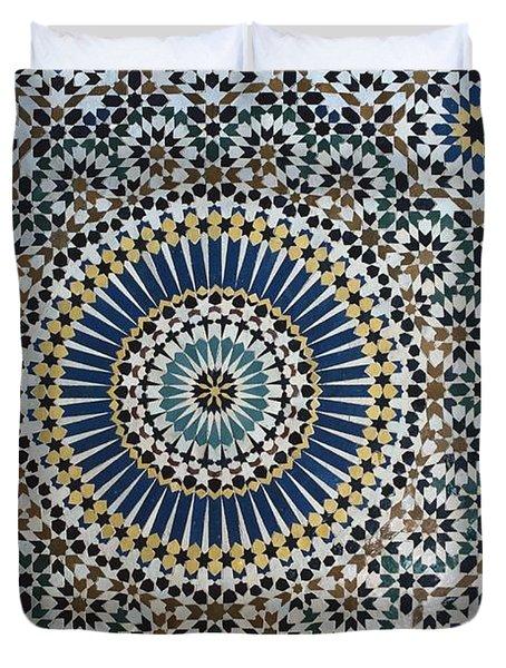 Kasbah Of Thamiel Glaoui Zellij Tilework Detail Duvet Cover by Moroccan School