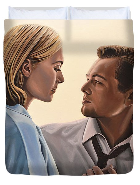Kate Winslet And Leonardo Dicaprio Duvet Cover by Paul  Meijering