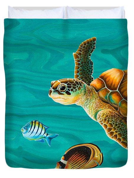 Kauila Sea Turtle Duvet Cover by Emily Brantley