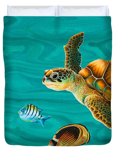 Kauila Sea Turtle Duvet Cover by Emily Brantley