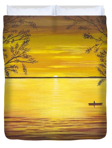 Kayaks In Golden Sunset Duvet Cover by Cyndi Kingsley
