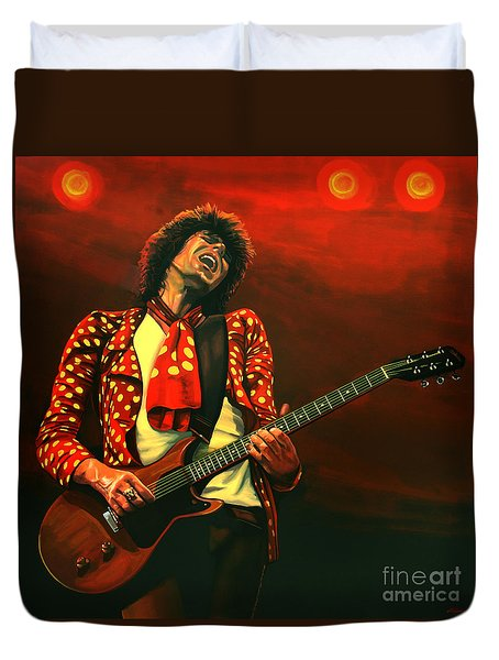 Keith Richards Painting Duvet Cover by Paul Meijering