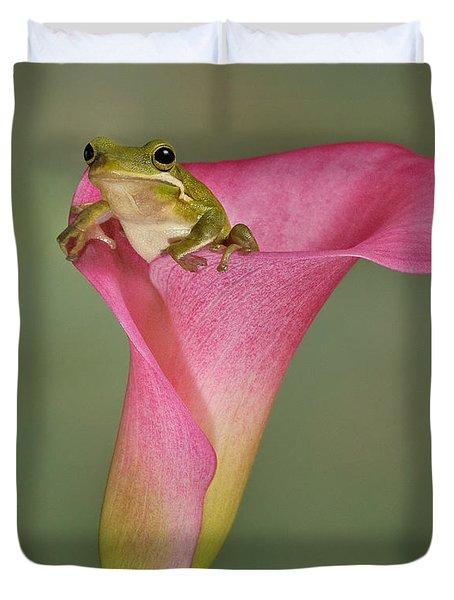 Kermit Peeking Out Duvet Cover by Susan Candelario