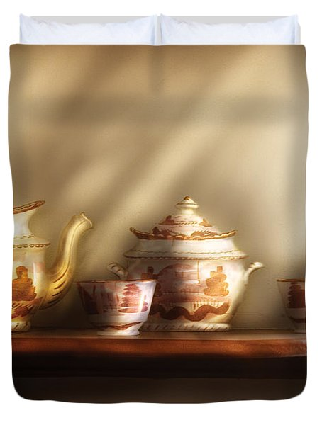 Kettle - My Grandmother's Chinese Tea Set  Duvet Cover by Mike Savad