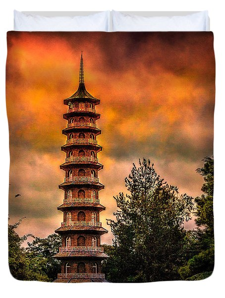 Kew Gardens Pagoda Duvet Cover by Chris Lord