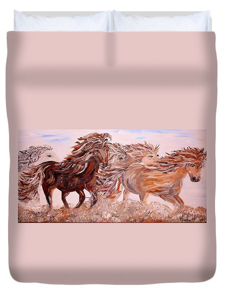 Kicking up Dust Duvet Cover by Eloise Schneider