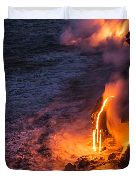 Kilauea Volcano Lava Flow Sea Entry 6 - The Big Island Hawaii Duvet Cover by Brian Harig