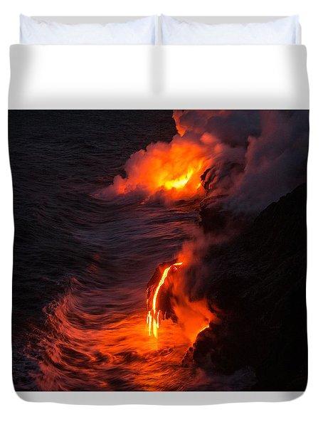 Kilauea Volcano Lava Flow Sea Entry - The Big Island Hawaii Duvet Cover by Brian Harig