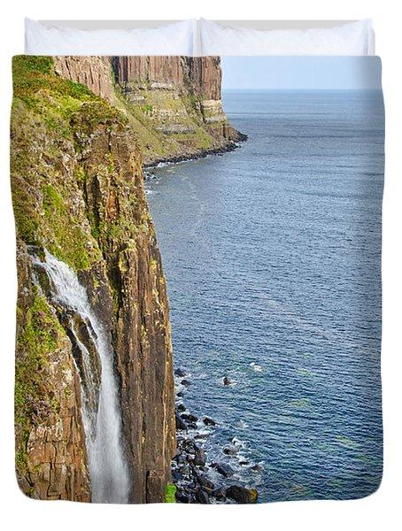 Kilt Rock Waterfall Duvet Cover by Chris Thaxter